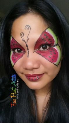 Watermelon Face, Watermelon Painting, Face Painting Designs, Body Painting, Facepaint Ideas, Head Wreaths, Face Paintings, New Crafts, Face Art