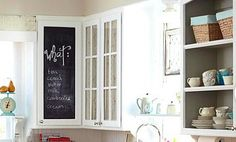 chalkboard cabinet and painted open cabinets