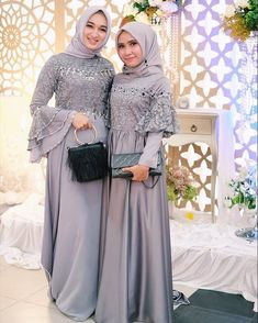 Image may contain: 2 people, people standing Dress Brokat Muslim, Gaun Dress, Dress Brukat, Hijab Dress Party, Hijab Style Dress, Dress Pesta, Muslim Dress, Batik Dress, The Dress