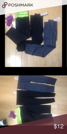 3 New Pants (1 yoga pants, 2 leggings) one size 3 New Pants (1 yoga pants, 2 leggings) one size, black and green, black, charcoal color. one size but recommended for small, med or large. PM10021, 90% Polyester, 10% Spandex for yoga pants, 92% Nylon 8% Spandex for leggings Pants Leggings