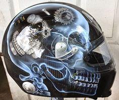 Race helmet design 49 is Sparco helmet with an x ray skull over carbon fiber makes for a very unique race helmet design by helmet painter Don Johnson Custom Helmets, Custom Motorcycle Helmets, Racing Helmets, Custom Bikes, Bike Helmets, Women Motorcycle, Motorcycle Gear, Airbrush Art, Badass