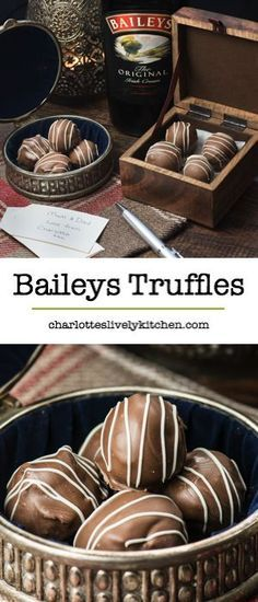 Treat someone you love with homemade Baileys truffles. There are two versions of this recipe, my original chocolate coated truffles and a quick and easy version. Both versions taste absolutely delicious and are the perfect gift someone special. Bailey Truffles, Chocolate Truffles, Chocolate Recipes, Chocolate Truffle Recipe, White Chocolate, Kahlua Truffles, Cake Truffles, Delicious Chocolate, Chocolate Brownies