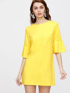 Shop Yellow Elbow Sleeve Ruffle Tunic Dress online. SheIn offers Yellow Elbow Sleeve Ruffle Tunic Dress & more to fit your fashionable needs.