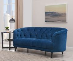 Beautiful blue velvet Seattle loveseat with deep button tufting and elegant black tapered legs. Luxury soft velvet upholstery and curved design adds to the elegance and style of this beautiful sofa. Blue Velvet Loveseat, Beautiful Sofas, Tufting Buttons, Color Trends, Love Seat, Upholstery, Couch, Interior Design, Luxury