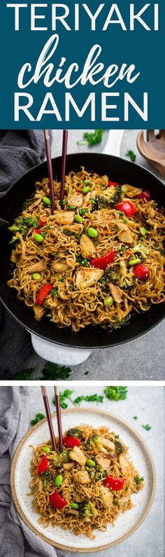 Teriyaki Chicken Ramen (4 cups mixed vegetables - carrots, peppers, mushrooms, snap peas & broccoli. Added another packet of ramen. Used cider vinegar). Very good!!