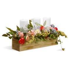 Infuse a touch of spring to your décor with this whimsical arrangement of faux blooms in a natural washed box. Add your favorite pillar candles for soft illumination to complete the piece. Christmas Crafts, Christmas Decorations, Holiday Decor, Spring Decorations, Table Centerpieces, Table Decorations, Flower Centrepieces, Centerpiece Ideas, Wedding Centerpieces