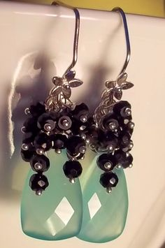 Turquoise Blue Chalcedony and Black Spinel by AlluringYouJewelry, $66.49