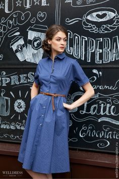 A grey belt would be better than brown here. Modest Dresses, Simple Dresses, Pretty Dresses, Casual Dresses, Blue Dresses, Cute Fashion, Fashion Outfits, Fashion News, Dress Skirt