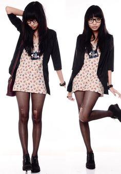 Zara Floral Top, Black Blazer, Statement Necklace