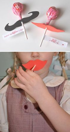 Moustache and Lip Lollipops | 50 Tiny And Adorable DIY Stocking Stuffers
