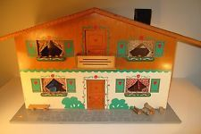 Dora Kuhn 1960's Doll House with Furniture West Germany FAO Schwarz