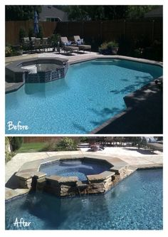 hot tub spilling into the pool Above Ground Pool, In Ground Pools, Pool Remodel, Home Landscaping, Swimming Pool Designs, Pool Decks, Outdoor Areas, Outdoor Decor, Backyard Ideas