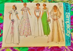 """Simplicity Sewing Pattern - Woman's Bridal, Bridesmaid or Prom Dress - size 10 chest 32 1/2"""" - 1975 - mpn 6940 - Unused & Factory Folded by MyOverstuffedDrawers on Etsy"""