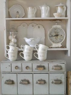 Stoneware collection, gray cabinet