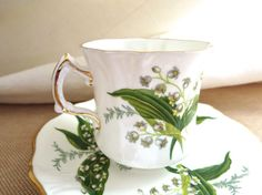English Cup Lily of the Valley MINT by Bleuets on Etsy, $16.00