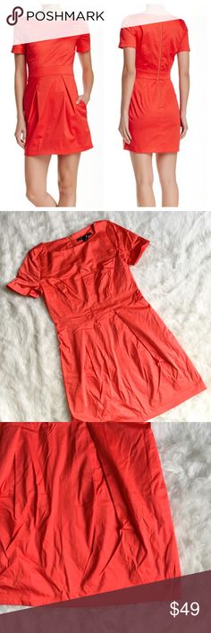 """French Connection Richie Fit & Flare Dress Lovely bright red dress from French Connection. Fit and Flare style. Size 8. Brand New with tags. Runs small. Was stored in a drawer so it got a bit wrinkly, probably needs to be steamed. Hanging will prevent this. - Boatneck - Short sleeves - Back zip closure - 2 side on seam pockets - Pleated skirt - Approx. 33"""" length - Imported French Connection Dresses"""