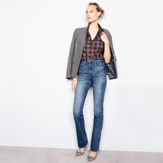 J.Crew Looks We Love: women's black plaid Regent blazer with satin lapel, Thomas Mason® Stewart plaid shirt, Point Sur Presley demi-boot jean and Elsie plaid pumps with bow.