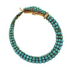 1stdibs   Turquoise and Diamond Snake Bracelet, Late 19th Century