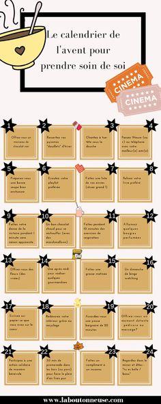 The advent calendar to take care of you - All Photos Laura Flynn School Calendar, Kids Calendar, Calendar Design, Advent Calendar Activities, Advent Calendars, Diy Papier, Christmas Aesthetic, Positive Attitude, Take Care Of Yourself