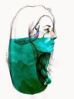 """Cada lágrima derramada por cada muerte en el mar emprende un viaje sin fin, pasando por ríos, riachuelos, vientos y nubes, para volver a caer al mar de donde salió y allí las otras ballenas y seres del mar que perdieron a ese compañero, hermano o hijo, siente la esperanza, pues esa gota salió del corazón de un humano y retorno a ellas con ese mensaje, """"cada vez que un ser del mar muere, morimos todos un poco , pues muere la inocencia, el juego y la magia de la Tierra.""""  Art Paula Bonet"""