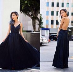 Spaghetti Straps Lace Black Evening Dresses Long 2015 Sexy Backless Chiffon Girl Prom Gowns Floor Length Bridesmaid Party Gowns #dhgatePin