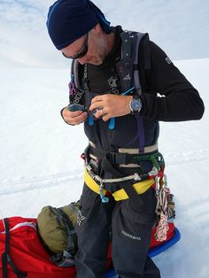 """Polar explorer Borge Ousland getting for day 4 on the ice of the crossing of the Svalbard Glacier with his Alpina """"Alpiner Chronograph on his wrist. Alpina Watches, Legacy Projects, Bradley Mountain, Chronograph, Ice, Backpacks, Explore, Bags, Handbags"""