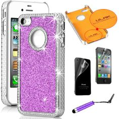 Pandamimi ULAK(TM) Chrome Glitter Bling Crystal Rhinestone Hard Case Cover for iPhone 4 4S 4G with Front and Back Screen protector and Stylus (Purple) ULAK,http://www.amazon.com/dp/B00DZJJYNW/ref=cm_sw_r_pi_dp_PK98sb0GDDCFMH28
