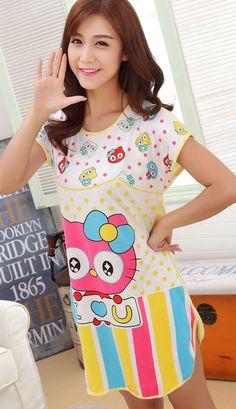 Cute I Love U Hello Kitty night shirt