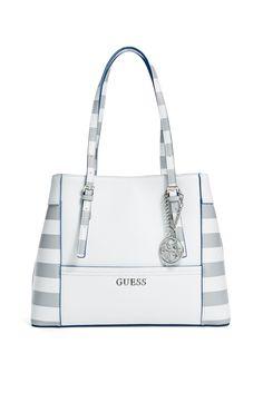 Delaney Striped Shopper Tote | GUESS.com