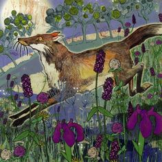 Stunning greetings card illustrated by Shelley Perkins with a night fox in a meadow Family Of Origin, 3d Laser, Fox Art, Creative Skills, Wildlife Art, Minimalist Art, Illustrations Posters, Printmaking, Moose Art