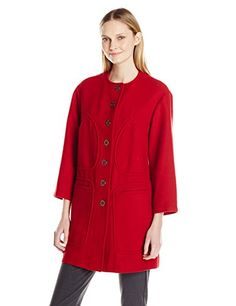 Anne Klein Women's Button-Front Coat -- Click on the image for additional details.
