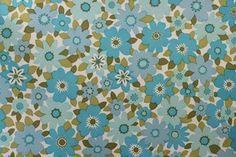 Retro Aqua Blue Flower Power Vinyl Vintage Wallpaper