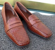 Woman's Trotter Brown Woven Leather Loafers Shoes Size 8 1/2 N Now $29.87