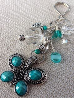 Beaded Keychain - Turquoise Butterfly Purse Bling on Etsy, $12.00