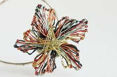 Flower brooch Wire Flower jewelry Wire brooch Wire by Vmikro