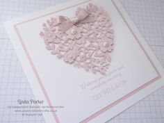 Linda Parker UK Independent Stampin' Up! Demonstrator from Hampshire @ Papercraft With Crafty : Get Well Card - Bloomin Heart Thinlits Dies & Hopeful Thoughts