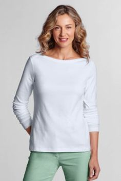 Women's Long Sleeve 1x1 Rib Solid Boatneck Top from Lands' End