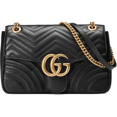Gucci GG Marmont 2.0 Medium Quilted Shoulder Bag ($2,300) ❤ liked on Polyvore featuring bags, handbags, shoulder bags, gucci, black, genuine leather shoulder bag, leather purses, gucci shoulder bag, quilted handbags and gucci purses