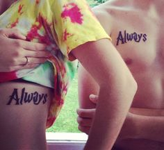 "Matching Harry Potter /sibling tattoos. Done in HP font with the famous line ""Always"". #harrypotter #tattoo #harrypottertattoo #always"