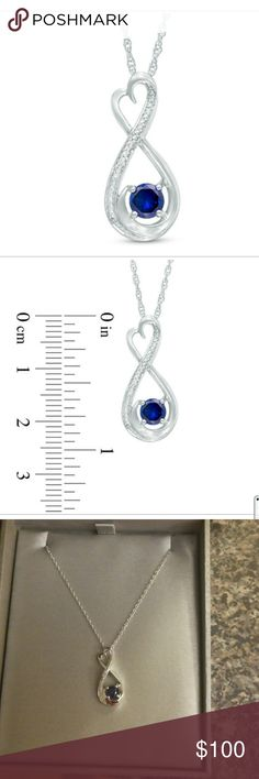 Zales Blue Sapphire Necklace BRAND NEW   5.0mm Lab-Created Blue Sapphire and Diamond Accent Heart-Shaped Infinity Pendant in Sterling Silver  Crafted in sleek sterling silver, this heart-topped infinity symbol-shaped design highlights a 5.0mm lab-created bright blue sapphire in a gracefully curving border.   A ribbon of sparkling diamond accents and decorative beading adds glistening detail. Buffed to a brilliant luster, this sweet pendant suspends along an 18.0-inch rope chain that secures…