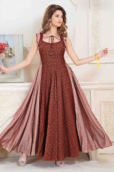 Plus Size Cotton Kurti In Brown And Pink Colour Up To 46