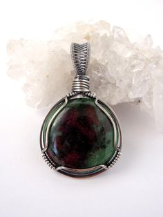 Ruby in Zoisite Pendant ~ Handcut Natural Stone ~ Eco Friendly Recycled Sterling Silver ~ Handmade Oxidised Petite Pendant ~ Round ~ Circle by KarmicStar on Etsy