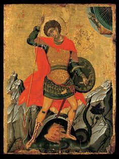 St George. 15th c. Unknown Cretan painter. An icon reminiscent of the art of Angelos Akotandos. Benaki museum, Athens, Greece.