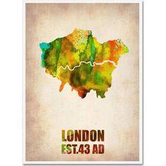 Trademark Fine Art London Watercolor Map Canvas Art by Naxart, Size: 18 x 24, Multicolor