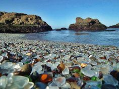 Fort Bragg, CA. The home of the former town dump this site was Glass Beach has the highest concentration of sea-glass, anywhere in the world. I would love to visit! Mykonos, Santorini, Machu Picchu, Bora Bora, Maui, State Parks, Fort Bragg California, A Far Off Place, Vancouver