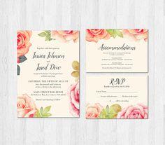 Rose Wedding Invitation Set Suite Floral by SweetTeaAndACactus