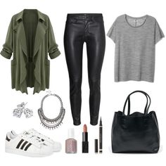 Autumn Outfit - Open front army coat, Leather pants, adidas superstar, Tote bag, Statement necklace, stud earrings, nude lipstick, black eyeliner, nude Essie nail polish