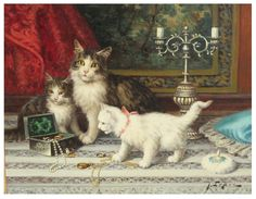 Antique Oil Painting of Cats or Kittens by Jules LeRoy 1833-1865