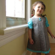 The Audrey Dress in turquoise - toddler girls dress in gray for autumn party weddings (made to order). $98.00, via Etsy.