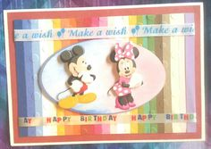 Birthday card, disney, Mickey and Minnie, paper scraps, ribbons